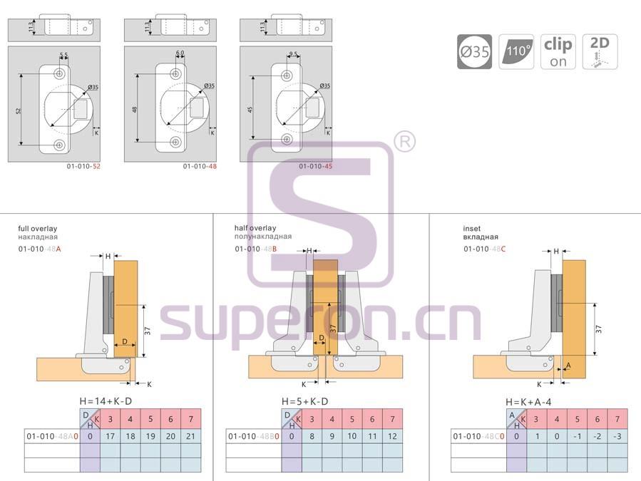 01-010-q | Concealed hinge clip-on, adjustable