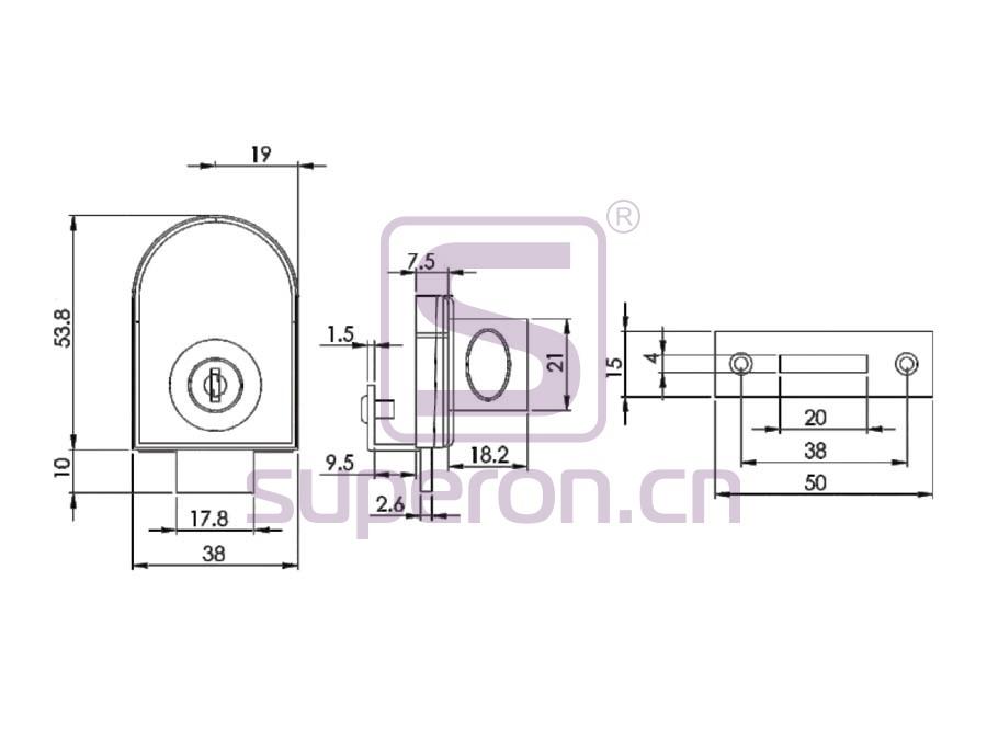 03-408-q | Glass Lock, #408