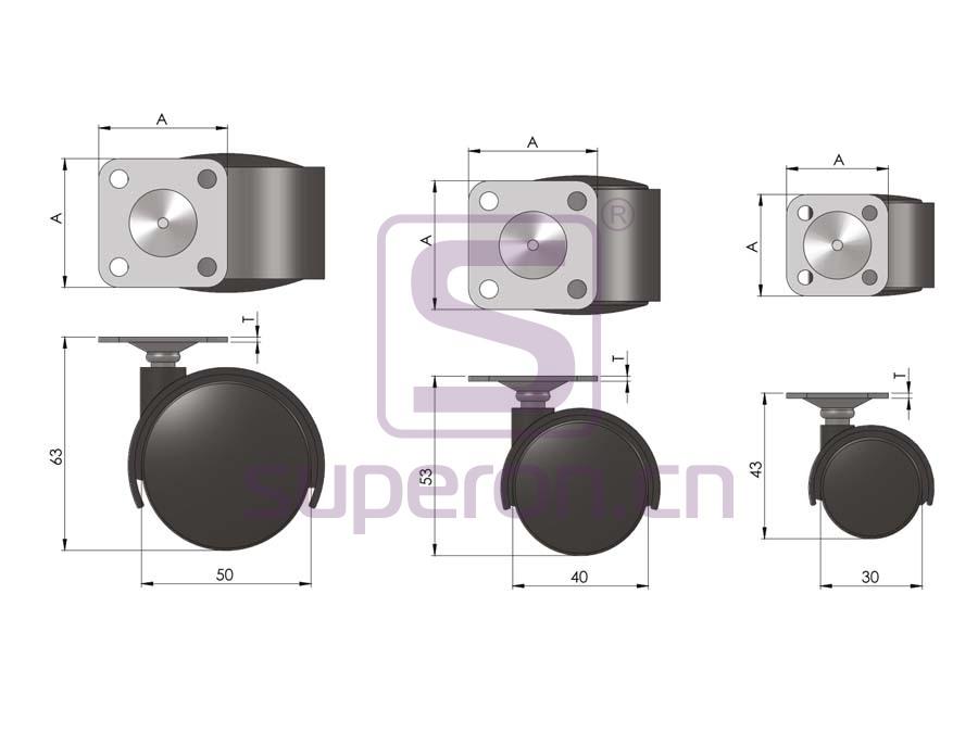 04-600-q1   Castor, wıth plate